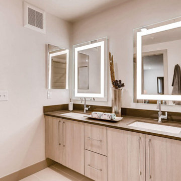 Double Vanity with Seura Allegro Lighted Mirrors