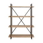 Metal and Wood 4-Shelf Bookcase