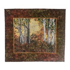 Quilted Wall Hanging Fiber Art, Woodland Sunrise Landscape