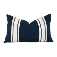 """- Striped Lumbar Linen Pillow Cover, Navy Blue, 12""""x20"""", With Pillow Insert - Decorative Pillows"""
