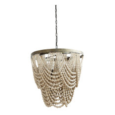 Metal Chandelier With Draped Wood Beads, Cream