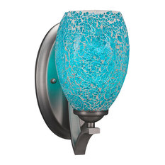 """Zilo Wall Sconce In Graphite, 5"""" Turquoise Fusion Glass"""
