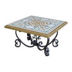 Aster Coffee Table With Iron Legs and Scagliola Decoration