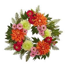 Front Door Wreath, 20 Inch Dahlia Wreath