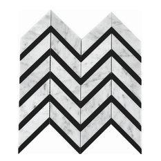 "Celine Marble Mosaic Tile, White/Black, 12x12"" Sheet"