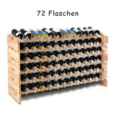 Costway 72 Bottle Wood Wine Rack Stackable Storage 6 Tier Storage Shelves