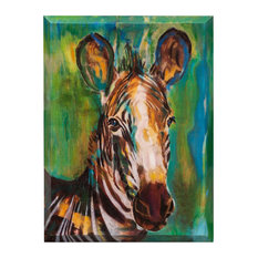 """Kruger Canvas Art, Hand Painted Watercolor Zebra, Angled 2"""" Gallery Wrap"""