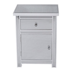 25.2' Antique White Wood Accent Cabinet With A Mirrored Glass Drawer And Door
