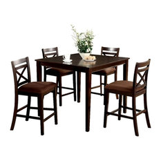 5 Piece Wooden Counter Height Table With Crossback Chairs, Espresso Brown
