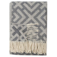 Athens Wool Blend Throw, Cream and Gray