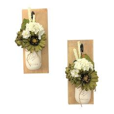 Casa Blanca Mason Jar Wall Sconces Floral Arrangements, Set of 2