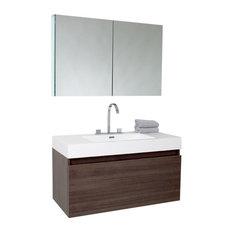 """39"""" Mezzo Gray Oak Vanity, Medicine Cabinet Fortore Chrome Faucet"""