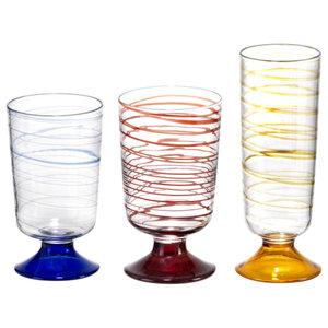 Tricolour Glass Set, Set of 18