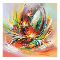 """Abstract Flowers"" Hand Painted Oil Canvas Artwork; Modern Art; Fine Art"