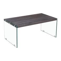 Hingham Rectangular Clear Glass Legs Coffee Table Gray