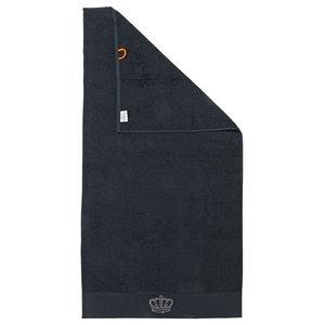 Crown Black Line Stone Grey Beach Towel With Grey Rhinestones, Black