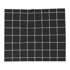 Black Grid Throw Blanket, Queen