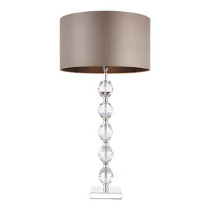 Clear Crystal (k9) Glass Detail & Taupe Silk Table 60W
