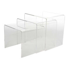 Acrylic Clear Nesting Tables, 3-Piece Set