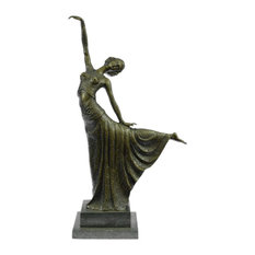 Signed Chiparus Elegant Dancer In Arabesque Art Deco Bronze Sculpture