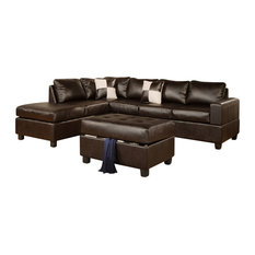 Poundex Associates Corp. - Poundex F7351 Espresso Bonded Leather Living Room Sectional Sofa - Living  sc 1 st  Houzz : poundex bobkona sectional - Sectionals, Sofas & Couches