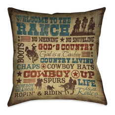 """Laural Home Welcome to the Ranch Outdoor Decorative Pillow, 18""""x18"""""""
