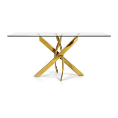 Glass Top Dining Table, Gold Rectangular