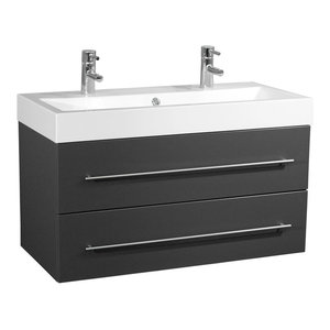 Emotion Sunrise Wall-Mounted Bathroom Vanity Unit, 100 cm, Anthracite Semi-Gloss