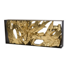 80-inch Long Console Table Root Iron Frame Resin Wood Sculpture In Gold