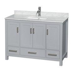 """48"""" Single Bathroom Vanity Gray, White Marble Top, No Mirror"""