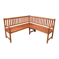 vidaXL - vidaXL Garden Corner Bench, Acacia Wood - Garden Benches