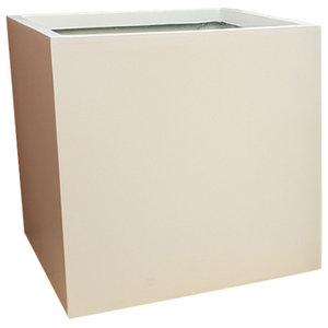 Matte White Cube Fibreglass Planter, 40x40x40 cm