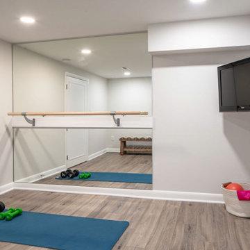 Basement Remodel - TV Room w/ Bar & Desk + Workout Room & 3/4 Bathroom