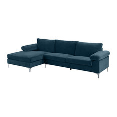 Modern Large Velvet Fabric Sectional Sofa, L-Shape Couch With Extra Wide Chaise,