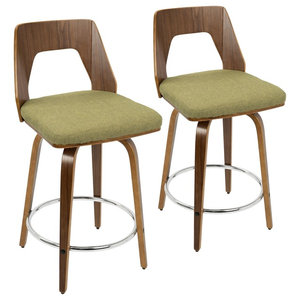 Trilogy Mid-Century Modern Counter Stool in Walnut and Green Fabric-Set of 2