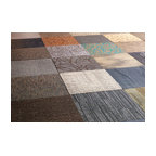"20""x20"" Assorted Peel and Stick Commercial Carpet Tiles, 12-Piece Set"