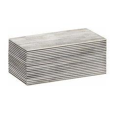 Pinstripe Decorative Box, Black, White, Medium