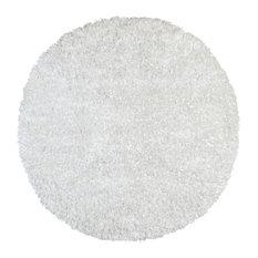 Shimmer Shag Round Rug, White, 3'x3'