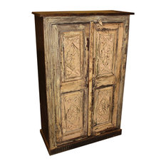 Consigned Antique Cabinet Farmhouse Rustic Original Wooden Accent Armoire