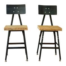 Barnxo - Set of 2 Reclaimed Wood Industrial Bar Stool, Steel Back, 30x16x16, Clear Coat - Bar Stools and Counter Stools