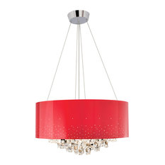 Elan Vallo 10-Light Round Red Shade Chandelier, Chrome