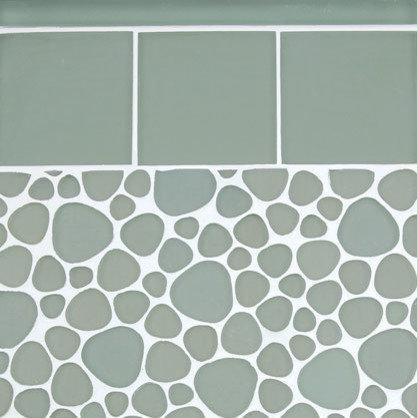 "Beach Glass 4 x4 and ""Pebble"" Shaped Mosaic - Tile"