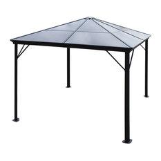 GDF Studio Halley Outdoor 10'x10' Black Aluminum Gazebo (No Curtains), Black