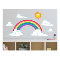 Sparkling Rainbow Fabric Wall Decals With Sun and Clouds, Size Large