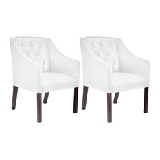 CorLiving Antonio Acceny Club Chair in White Bonded Leather, Set of 2