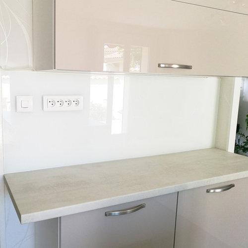 Cr dence de cuisine en verre maill tremp blanc intense - Credence cuisine verre trempe ...