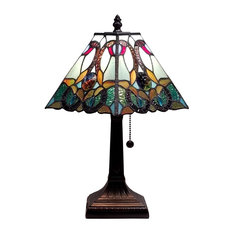 """Amora Lighting AM253TL08 Tiffany Style Floral Mission Style Table Lamp 8"""""""