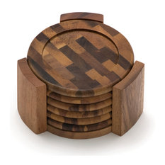 Lipper International - Acacia Coaster With End Grain Stand Set Of 6 - Coasters  sc 1 st  Houzz : outdoor drink coasters - pezcame.com
