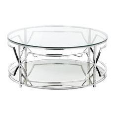 Edward Round Coffee Table, High Polish Steel