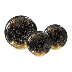 Lighted Silver Mercury Glass Spheres - Set of Three (One Large and Two Small)